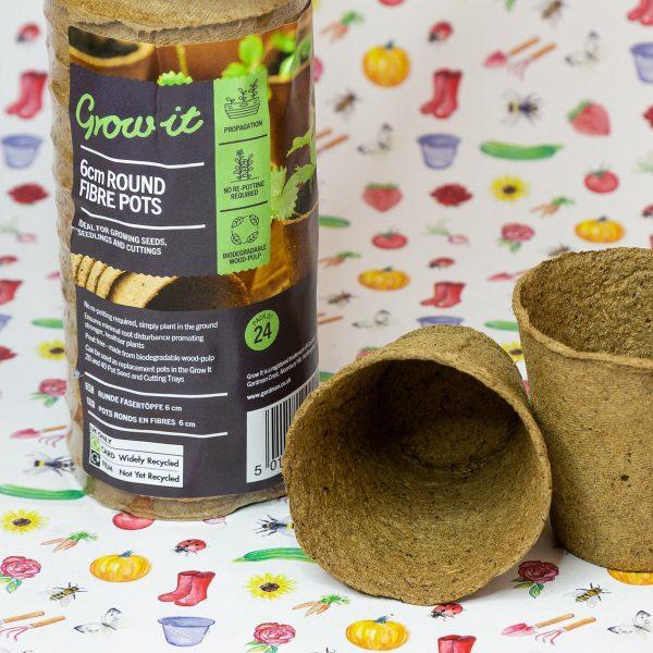 Grow-it ronde vezel pot 6cm 24st (48)